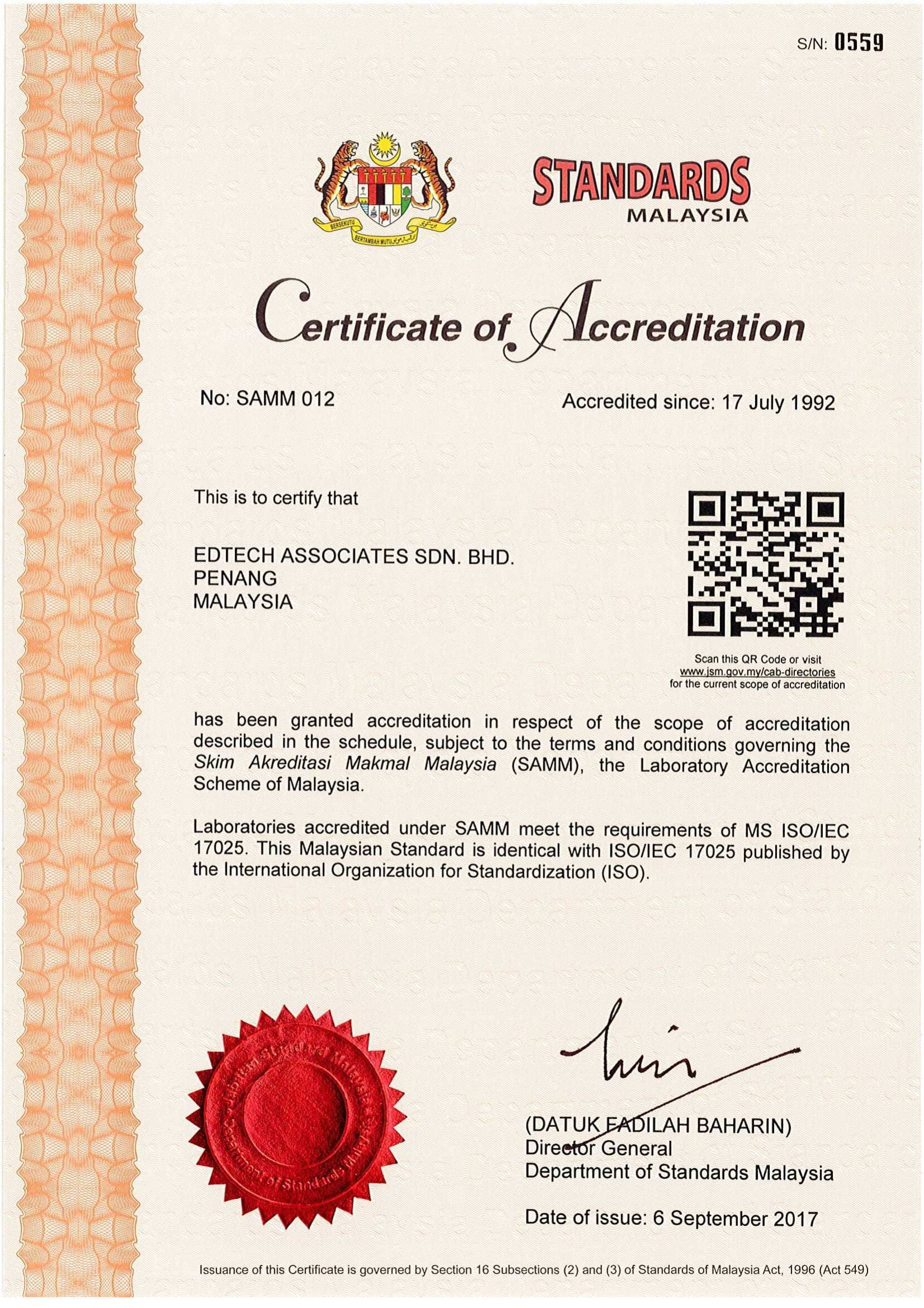 Certificate of Accreditation from